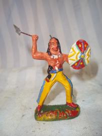 Elastolin, durso Lineol indiaan met bijl en schild goede staat