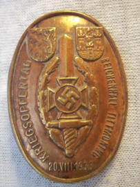 German tinnie, rally badge, Duitse tinnie Kriegsopfertag 1933 Reichenhall- Tittmoning. vroeg model apart, kapotte speld.