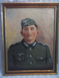 Painting German soldier with M34 fieldcap. Schilderij Duitse soldaat niet gesigneerd, geschilderd op hardboard, zeer gedetailleerd en duidelijk. TOP werk.