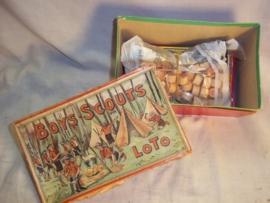 Belgium Lotto game complete with nice scouting drawing on the box.Belgische Lotto doos met leuke afbeelding van de scouting, padvinderij, compleet bespeeld