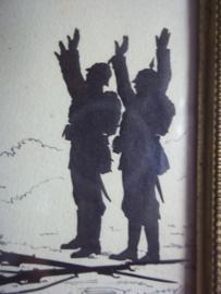 Koperen lijstje, jaren 20- 30 met daarin geknipte silhouetten, bijzondere kunstuiting. het werk heeft als titel PAS KAPOUT en is linksonder gesigneerd. TOP stukje kunstwerk in typisch lijstje.