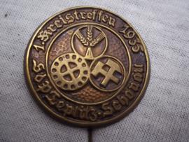 German tinnie, rally badge, Duitse tinnie, Arbeitsdienst, 1. Kreistreffen 1935, bijzondere speld.