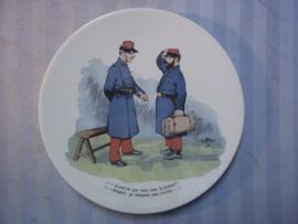 Frans karikatuur bordje WO1 militaire afbeelding.