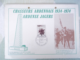 Belgische kaart met postzegel Ardense Jager 1934- 1974 herinnering aan 40 jaar Chasseurs.