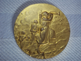 French medal zoaven. Franse penning Zouaven in de aanval maker L.O.Mattei. 1927. verguld, diameter 3,5 cm.