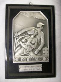 Swiss plaquette, Nous Defendrons Mobilisation de guerre 2 septembre 1939. Zwitserse plaquette