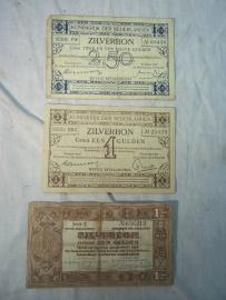 Nederlands geld, zilverbon, gulden en twee en een halve gulden WO1 en WO2