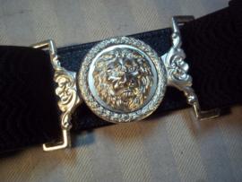 Belgische gala riem van de Rijkswacht, zilver kleurige leeuwenkop