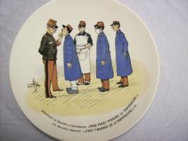 French reservist plate, WW1. Karikatuur wandbord Frans leger. Sarreguemines
