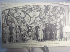 Kaart met daarop afgebeeld de dood van een Zouaaf, gespeeld door kinderen 1904, 1911