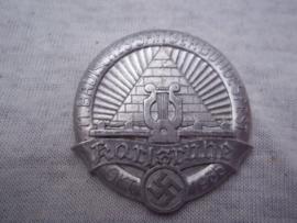 German tinnie, rally badge, Duitse tinnie 11e Badisches- Sängerbundesfest. Karlsruhe Okt. 1935. met maker.