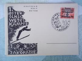 Briefkaart met postzegel en stempel 1e oster schiwettkämpfe 1940 in Zakopane general Gouvernement