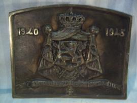 Bronzen plaquette Belgie 1940-1945 L'union fait la Force. Eendracht maakt Macht, 2 talig.