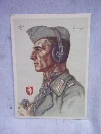 German Postcard  of a Knight Cross barrier. Duitse postkaart van een Ridderkruisdrager Luitenant Hugo Primozic.