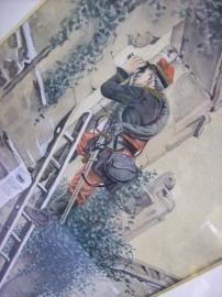 Aquarel van een Franse officier tijdens de 1e WO met passe-partout gesigneerd. duidelijke afbeelding
