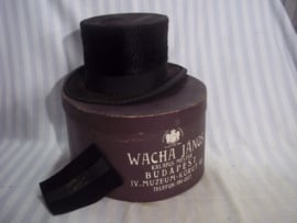 Hoge hoed in doos beide van dezelfde maker hoed, doos, en schoonmaakdoekje zijn allen van dezelfde maker zeer bijzonder en een leuk geheel.