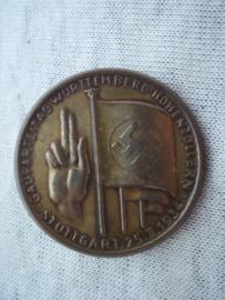 German tinnie, rally badge, Duitse tinnie, Gauparteitag Wurttemberg Hohenzollern - Stuttgart 25- 2- 1934.