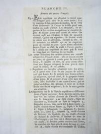 Original old lithography of old armour. Oude steendruk op geschept papier omstreeks 1750. over bewapening.
