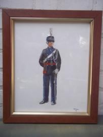 Aquarel officier van de Koninklijke marechaussee getekend door P.J. de Haas in 1992, mooi ingelijst TOP item.