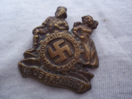 German tinnie, rally badge, Duitse tinnie KdF. Mit Kraft durch Freude in Oberbayern.