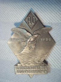 Very rare  German tinnie Stuttgart 1938 6th. Reichstagung der Auslanddeutschen,  duitse tinnie Auslanddeutschen apart