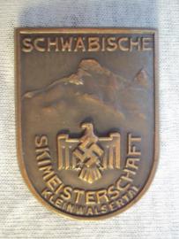 German tinnie rally badge, Duitse Tinnie Schwabische Skimeisterschaft Kleinwalsertal.