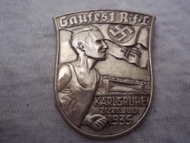 German tinnie, rally badge. Duitse tinnie Gaufest RfL Karlsruhe 21-28 juli 1935.