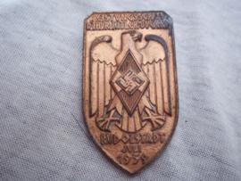 German tinnie, rally badge, Duitse tinnie Leistungsschau der Thüringer Hitler-Jugend - Rudolstadt juli 1939, nicely marked, met hersteller.