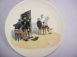 French reservist plate WW1 Karikatuur wandbord Frans leger, Sarreguemines