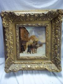 Painting oil on canvas French soldier on horse warns officers.Schilderij olie op doek Franse cavallerist waarschuwt enkele officieren. in originele lijst