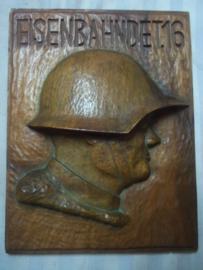Zwitserse houten plaquette van het 16e Eisenbahndetachement. zeer apart.