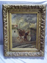 French painting oil on canvas soldiers through the wall.Schilderij olie op doek Originele lijst Franse soldaten kruipen door een nis in de muur, gesigneerd