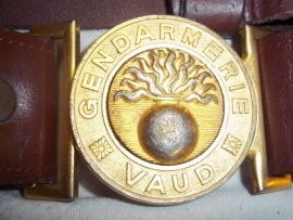 Swiss police belt leather with buckle made in Lusanne.Zwitserse politie riem GENDARMERIE  VAUD.