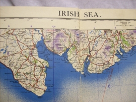 RAF map Irish sea 1942, Landkaart Royal Air Force op linnen gedrukt