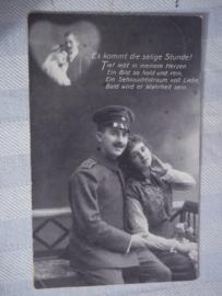Duitse postkaart, soldaat en meisje, beschreven