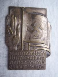 German tinnie, rally badge, Duitse tinnie Gauparteitag Würtemberg Hohen-Zollern Stuttgart 25- 11- 1934
