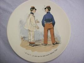 French reservist plate WW1, Sarreguemines, Karikatuur wandbord Frans leger