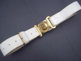 British leather belt, with buckle, Kings Crown, leren koppel met bronzen koppelslot vroeg model 1900- 1920 Kings crown, zeer bijzonder