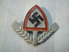 German lightweight cap badge Asmann maker Arbeitsdienst Duits petembleem Arbeitsdienst manschappen mooi gemarkeerd en mooie speldinzetting. mint staat