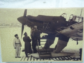 Original photograph was in East Germany Military Archive.Originele Luftwaffe foto Stuka JU 87 met DDR militair archief stempel Potsdam en Feldpost stempel
