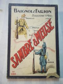 leeg doosje, met militaire afbeelding  Sambre- Meuse, Belgische en Franse soldaat WO1 en Interbellum.