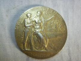 Belgium plaque gilt, 3,5 cm. Belgische vuurvergulde penning, goed gedrag .