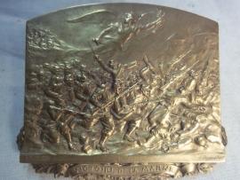 French plaque made by Sylvian Kinsburger. Franse bronzen plaquette, VICTOIRE DE LA MARNE, mooi gedetailleerd.