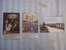 set van 3 Engelse postcards, postkaarten uit WO1. Till the  boys come home.