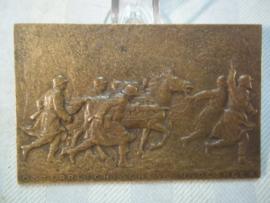 Austrian plaque, 1930, Osterreichisches bundesheer, maker is R.Marschall, schlussubung in Sieghartskirchen. Oostenrijkse penning met getrokken artilleriegeschut, zeer decoratief, TOP.