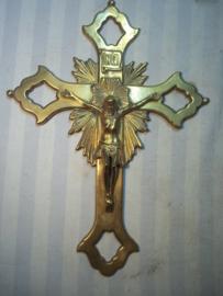 Koperen kruisbeeld messing. antiek