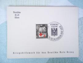 Duitse kaart met postzegel KRAKAU 1940 Duits Rode Kruis DRK Deutsche Post Osten
