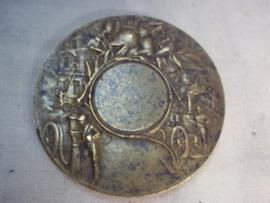 Antieke penning Franse brandweer met diverse afbeeldingen Brons