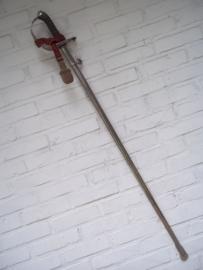 Swiss sword, nicely marked. Solingen. Zwitsers sabel, gegraveerd, met sabelkwast, maker uit Solingen, Berlijns zilver.