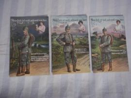 3 Duitse WO1 postkaarten van een serie, onbeschreven, mooie frisse afbeeldingen.